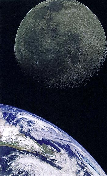 The planet earth and its moon